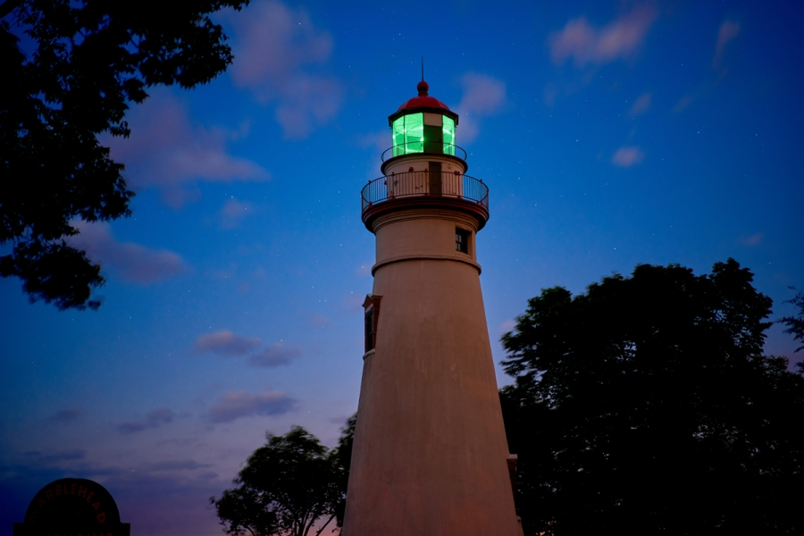 This Ohio Lighthouse Shines Green!